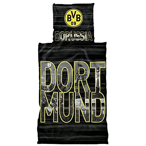 Borussia Dortmund BVB Bettwäsche mit Stadtbuchstaben, Baumwolle, Schwarz/Gelb, 135 x 200 x 2 cm