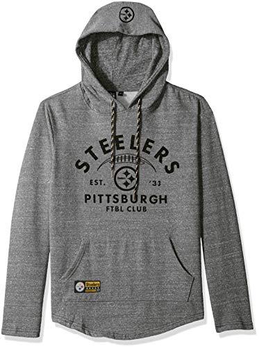 Ultra Game NFL Pittsburgh Steelers Mens Fleece Hoodie Pullover Sweatshirt Vintage Logo, Gray Snow, XX-Large