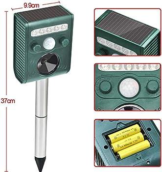 Répulsif solaire à ultrasons pour animaux avec LED activées par le mouvement et clignotantes - Étanche - Pour chiens, chats, ratons laveurs, souris, oiseaux, mouettes, etc.