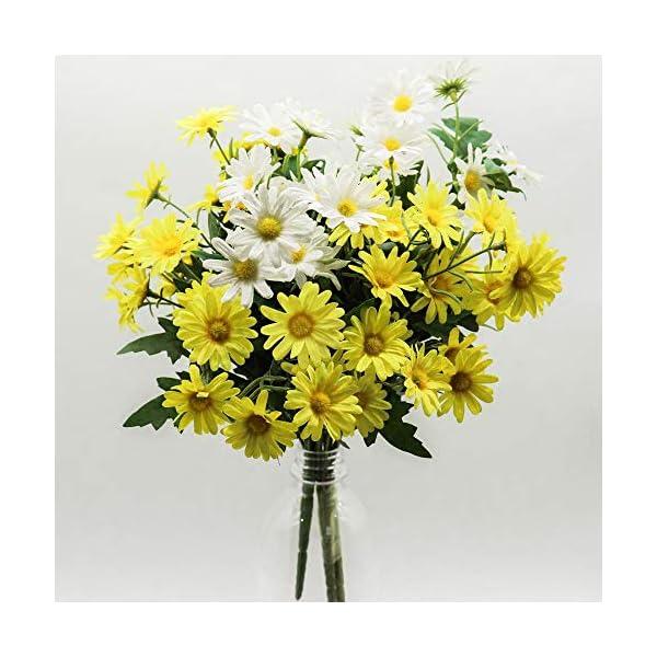 CCUCKY 2 Ramos Flores de Margarita Artificial 24 Cabezas Cada una, Simulación de Estilo Rural Plástico Colorido Flores…
