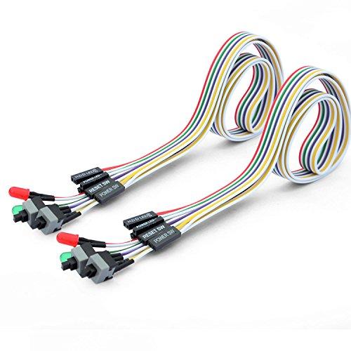 Ytian 2 Stücke 4 in 1 PC Reset Schalter Kable ATX Power-Reset HDD Schalterkabel 65cm