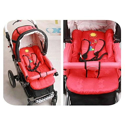 Demiawaking Cuscino per Passeggino Cuscino Morbido in Cotone Spesso per Seggiolino Auto, Carrozzina,Seggiolone Bambino (Rosso)