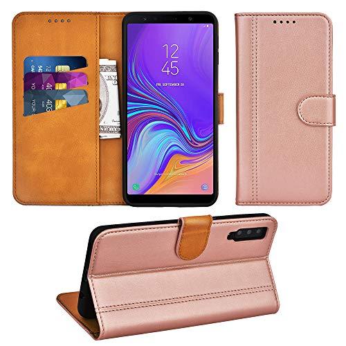 Adicase Galaxy A7 2018 Hülle Leder Wallet Tasche Flip Case Handyhülle Schutzhülle für Samsung Galaxy A7 2018 (Rose Gold)