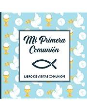 Libro de visitas comunión: Cuaderno de primera comunión para escribir en la felicitación de 1st comunión para niños con el símbolo cristiano del pez un gran regalo de comunión