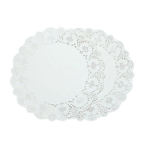 Yalulu 50 weiß Spitze Papier Doily Spitzenuntersetzer Zierdeckchen Untersetzer Deckchen Kuchen für Muffins & Törtchen Designs