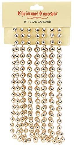 Christmas Concepts 9ft Christmas Bead Chain - Christmas Bead Garlands - Christmas Decorations (Champagne)