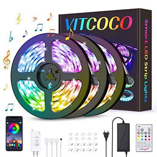 VITCOCO Striscia LED Bleutooth, Striscia LED Musica 12M 5050 RGB 360 Leds Controllata da Bluetooth+Tasti Telecomando+Interruttore, Luminosità Regolabile Nastri Led Retroilluminazione per Decorazione