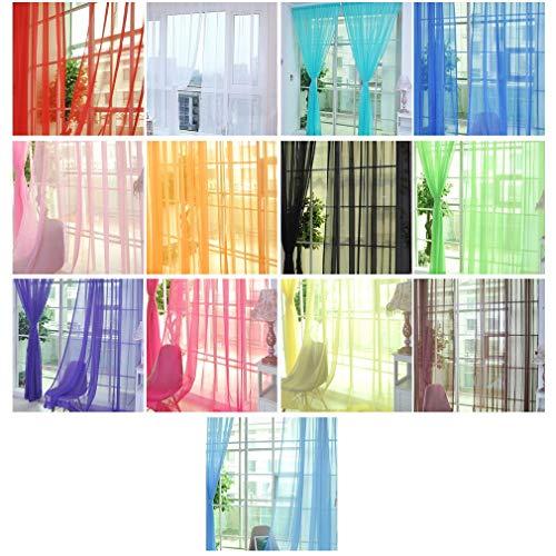 KinshopS - Cortina de tul translúcida para ventana, color liso