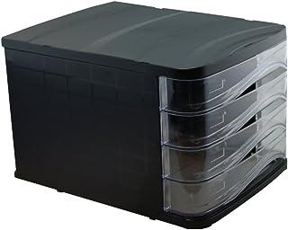 Waytex 931050 Bloc de Rangement Noir avec 4 Tiroirs Transparent