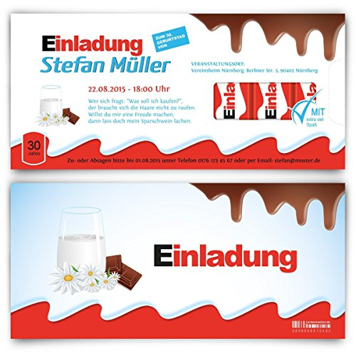 Einladungskarten zum Geburtstag (20 Stück) Schokolade für Kinder Schoko Milch Riegel Kakao