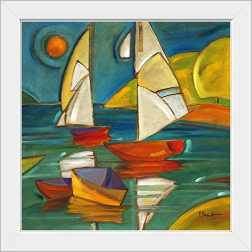 "CANVAS ON DEMAND Portofino Boats White Framed Art Print, 19""x19""x1"""