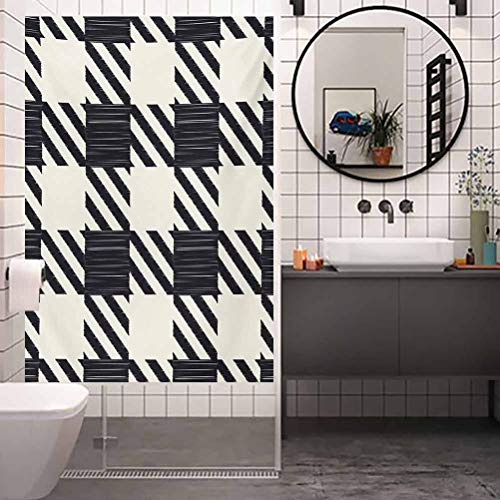 Pegatinas de vidrio con control de calor, diseño de rayas diagonales y cuadrados monocromáticos, decoración para el hogar, cuarto de baño, W17.7 x H35.4 pulgadas