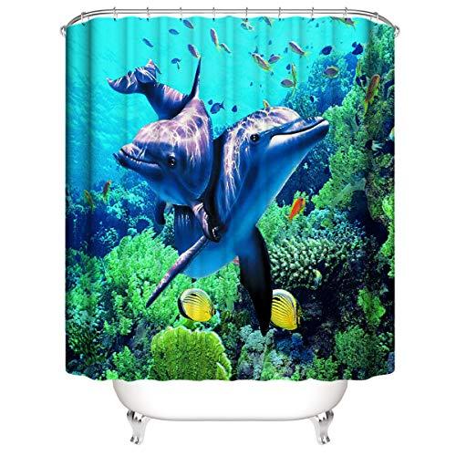 LLLTONG Duschvorhang 3D Matt Wasserdicht Mehltau Duschvorhang Umweltfre&lich Waschbar Badezimmer Vorhang Paar Delfine