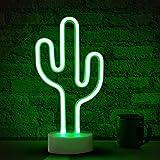 Kaktus-Neonlicht-Schilder, grüne LED-Neon-Lichterschilder mit Halterung für Tisch, batterie/USB-betriebene Kaktus-Lampen, Schilder für Schlafzimmer, Club, Party, Festival