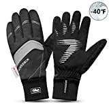 KINGSBOM Waterproof Warm Gloves - 3M Thinsulate Winter Touch Screen Thermal Gloves- for Cycling, Running, Riding, Outdoor Sports - for Women and Men – Black (Medium)