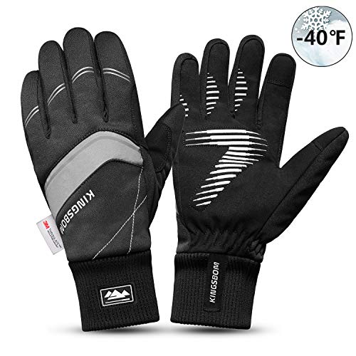 KINGSBOM Waterproof Warm Gloves - 3M Thinsulate Winter Touch Screen Thermal Gloves- for Cycling,...