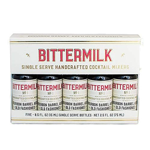 Bittermilk Single Serve No.1 Bourbon Barrel Aged Old Fashioned 5-Pack Gift Set – All Natural Handcrafted Cocktail Mixer – Just Add Whiskey, Each Bottle Makes One Cocktail