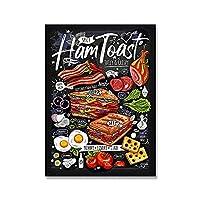 フードレストランカフェチョークウォールアートポスターおいしいハムローストメキシコキャンバス絵画ピザリアキッチンモダンな家の装飾写真 (Color : A, Size : 21x30cm No frame)