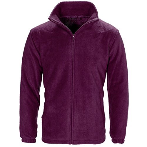 Myshoestore, giacca unisex in morbido micropile caldo invernale, anti pelucchi, stile casual per attività sportive e outdoor, colore nero, taglia S-3XL Purple XX-Large