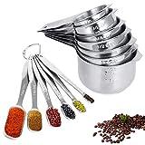 Jooheli Set di 13 Misurini in Acciaio Inox Measuring Spoons Preciso composto da 7 coppette e 6 cucchiai dosatori, Cucina Misurini Cucchiai Dosatore Set per Misurazione a Secco e Ingredienti Liquidi
