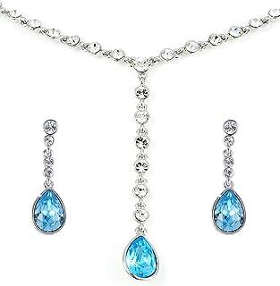 Swarovski Elements 18K White Gold Plated Jewelry Set encrusted with Blue Swarovski Crystals, SWR-301
