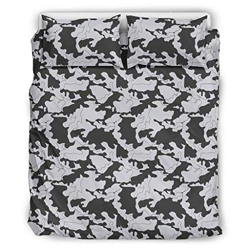 Toomjie Bedding Set Graphics Camouflage Soft&Printed Graphics Duvet Cover Set 1 Quilt Cover&2 Pillowcases Fade Resistant white 90x90 inch