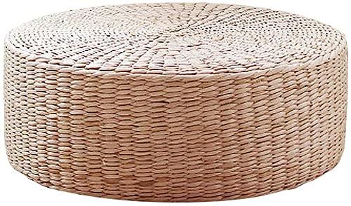 QYYL Cojín de Suelo Redondo Tatami Cojín de Paja Tejida Natural Cojín Cómodo Redondo, Respetuoso con el Medio Ambiente Cojín de Paja, para Asiento de Yoga o Jardín, Decoración de Comedor (45x45x6cm)