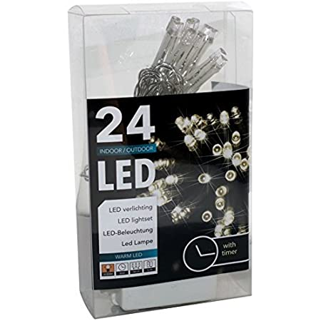 Hit Led Lichterkette Mit Batterie Und Timer 24 Lämpchen Warmweiß Für Innen Und Außen 20094 Küche Haushalt