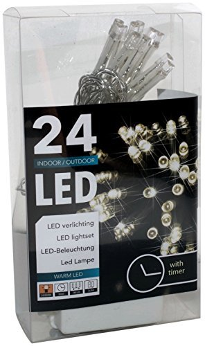 HiT Led Lichterkette mit Batterie und Timer 24 Lämpchen warmweiß für innen und außen (20094)
