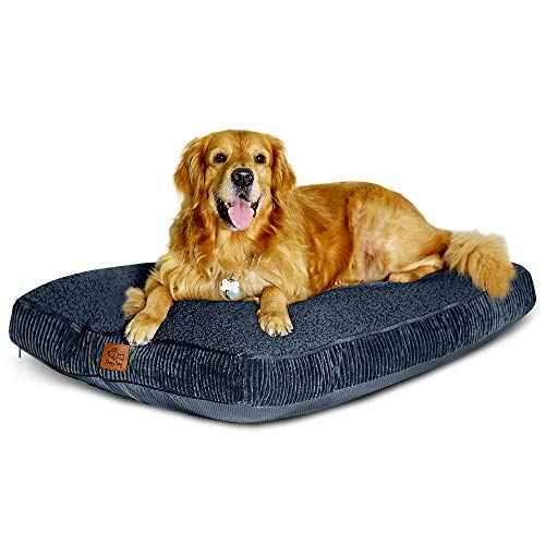 Floppy Dawg Large Dog Bed with Removable, Machine Washable Cover and Waterproof Liner. Classic Pillow Stuffed with Orthopedic Memory Foam Blend. Made for Big Dogs up to 90 Pounds.