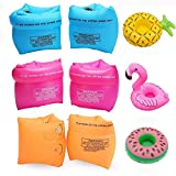 SIMUR 6Pack PVC Arm Floaties Inflatable Swim Arm Bands Floater Sleeves Swimming Rings Tube Armlets with 3Pcs Inflatable...
