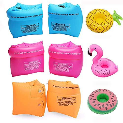 SIMUER 6PCS Schwimmflügel Schwimmhilfe, Aufblasbare Getränkehalter Schwimmreifen Schwimmen Inflatable Swim Arm Bands mit 3 Aufblasbare Getränkehalter für Kinder Erwachsene Schwimmscheiben Schwimmbad
