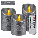 CPROSP 3er LED Kerzen Flammenlose Kerzen mit Fernbedienung mit 10 Tasten (Timer 2/4/6/8 H, 2 Mode, Dimmbar), 7,5x10/12,5/15cm, Dekoration für Weihnachten, Ostern, Hochzeit, Party, Grau…