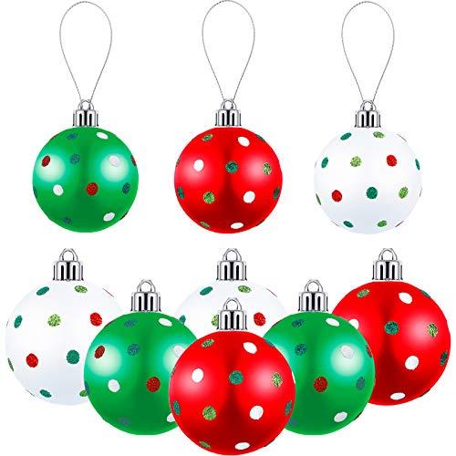 Sumind 6 Pieces Glitter Christmas Dot Balls Polka Dot Balls Ornaments Shatterproof Christmas Tree Ball Ornaments Holiday Polka Dot BallsPendants for Holiday Wedding Christmas Decoration