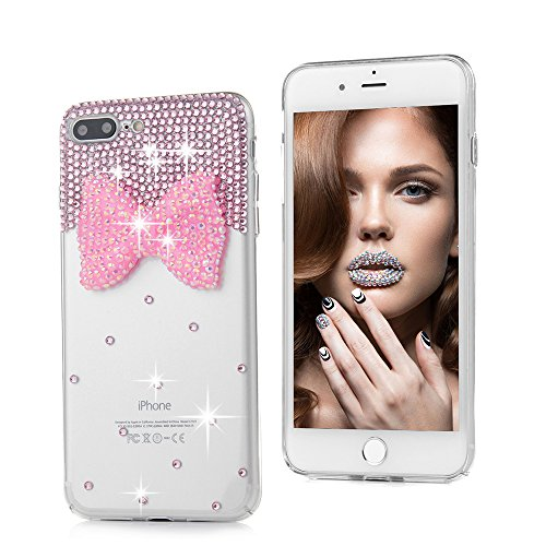 "iPhone 7 Plus Case (5.5"")-MOLLYCOOCLE Crystal Clear Transparent Handmade Bling Shiny Crystal Diamond Design PC Hard Shell Full Protective Case Cover for iPhone 7 Plus,Butterfly Bow Photo #7"