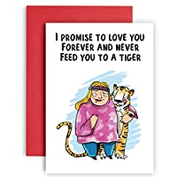 I promise to love you and not feed you to a Tiger - Happy Anniversary Cool Cat Carole Baskin バースデーカード 彼への - Joe Exotic バースデーカード - 結婚記念カード - 面白い誕生日