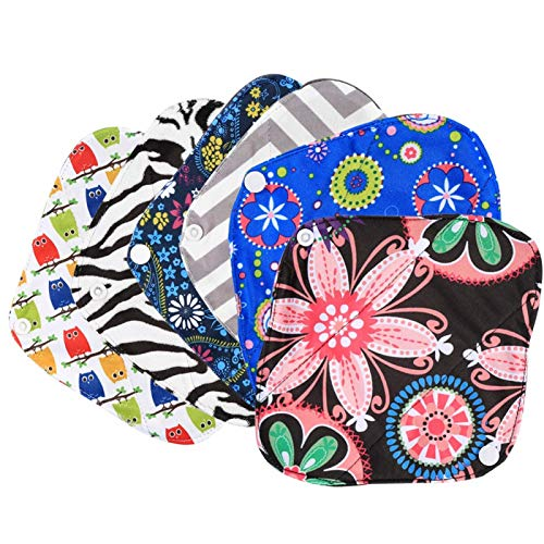 Almohadilla sanitaria reutilizable para mujer de 6 piezas, forro de bragas lavable, kit de almohadillas menstruales de tela suave y cómoda con 1 bolsa húmeda