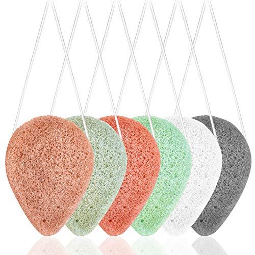 Paquete de 6 esponjas faciales Konjac naturales, SourceTon 6 colores Konjac esponjas faciales para una limpieza facial suave y exfoliación