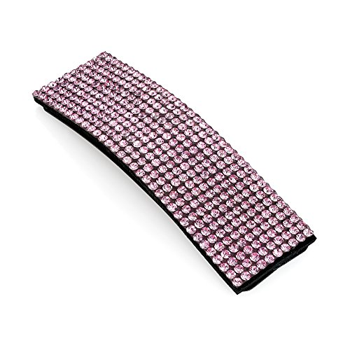 Hair Snap Clip Crystal Rectangle Shape Glitter Bling Sleepies Hair Accessories (Pink)
