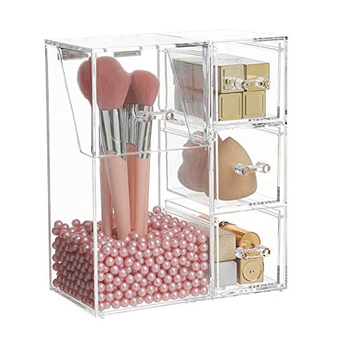 HOSEN Clear Acrylic Makeup Brush Holder Makeup organizer, Dust-proof Cosmetic Storage Case Makeup Pencil Organizer Cosmetic Display Tray with 3 Drawers with Pink Pearls