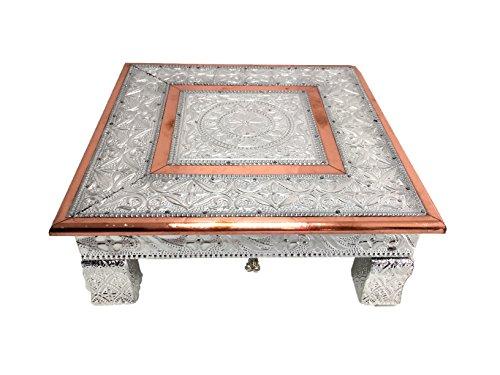 eRadius - Mesa baja Bajot Bajath hindú para Pooja (cobre y aluminio, 25,4 x 25,4 cm)