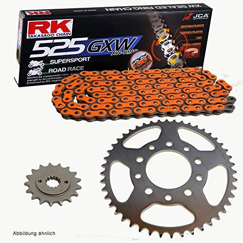 Jeu de chaînes pour XRV 750 Africa Twin 90-92 RK DD 525 GXW 124 ouvert Orange 16/46