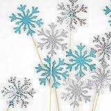 HOWAF 30 Copo de Nieve Cupcake Toppers para Decoraciones de Pastel congelados de Navidad, Pastel Tarta Fondant Toppers Decoración de Copo de Nieve para Navidad Cumpleaños Boda Invierno Decoraciones