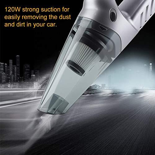 Emoshayoga Mini aspiradora de Coche, aspiradora de 12 V, aspiradora de Coche Duradera, Coche ABS ecológico para el hogar(Silver)