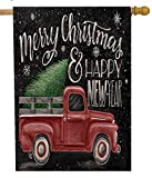 Selmad Merry Christmas 28 x 40 House Flag Red Truck Double Sided, Rustic Winter Xmas Farmhouse Quote Burlap Garden Yard Pickup Décor, Happy New Year Holiday Seasonal Decorative Outdoor Large Flag