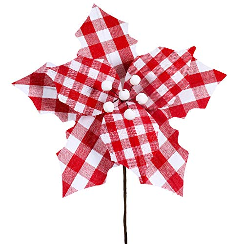 Supla 6 Pcs Christmas Red and White Gingham Check Poinsettia with White Berry Center Flower Picks Christmas Tree Ornaments 9.8' Wide for Rustic Red Christmas Tree Wreaths Garlands Wedding Decoration