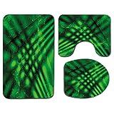 3Pcs Alfombra de baño antideslizante Juego de tapa de asiento de inodoro Verde lima Alfombra de baño antideslizante suave Psicodélico Resumen Borrosa Sombra Efectos sin forma Diseño visual complejo, A