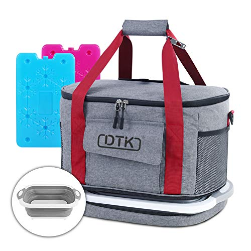 DTK Soft Large Cooler Bag with Collapsible Cutting Board, Insulated Leakproof Portable Cooler Tote, 45Can/30L Soft Sided Collapsible Camping Cooler with 2 Ice Pack for Picnic Beach Travel BBQ Grocery