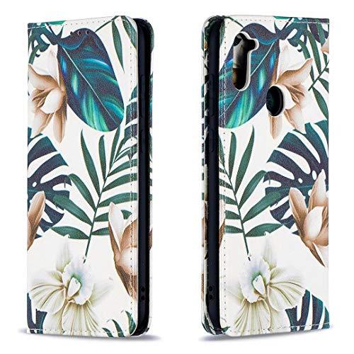 Miagon Brieftasche Hülle für Samsung Galaxy A21,Kreativ Gemalt Handytasche Case PU Leder Geldbörse mit Kartenfach Wallet Cover Klapphülle,Blatt Blume