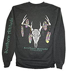Southern Attitude Feather Deer Skull Dark Heather Long Sleeve Shirt